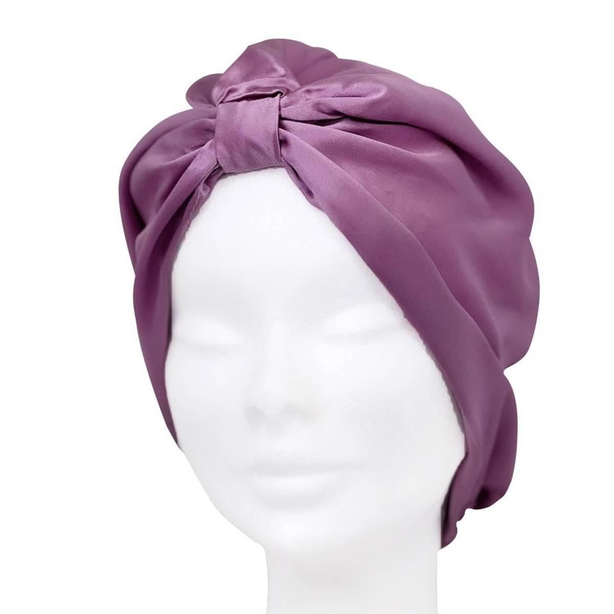Sove turban i silke-lavendel