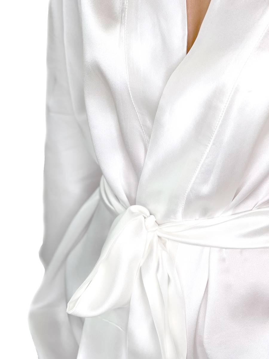 Kimono i silke - hvit