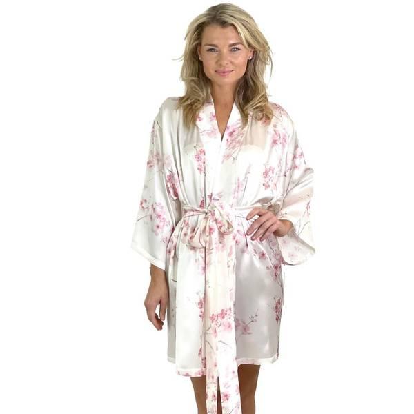 Bilde av Kimono i silke - rosa print