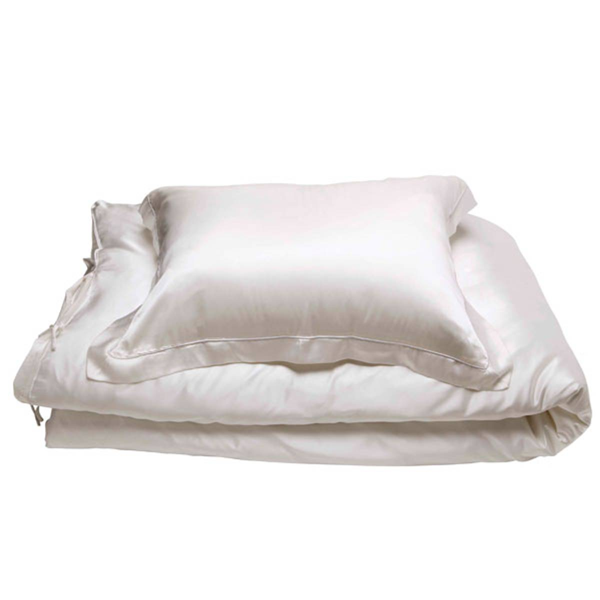 Sengesett i silke - hvit